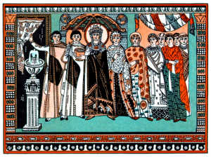 Theodora and her attendants - from a mosaic